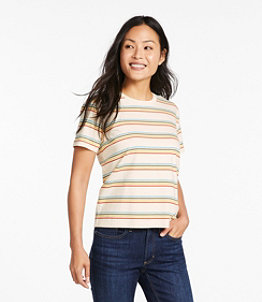 Women's Saturday T-Shirt, Crewneck Short-Sleeve Stripe