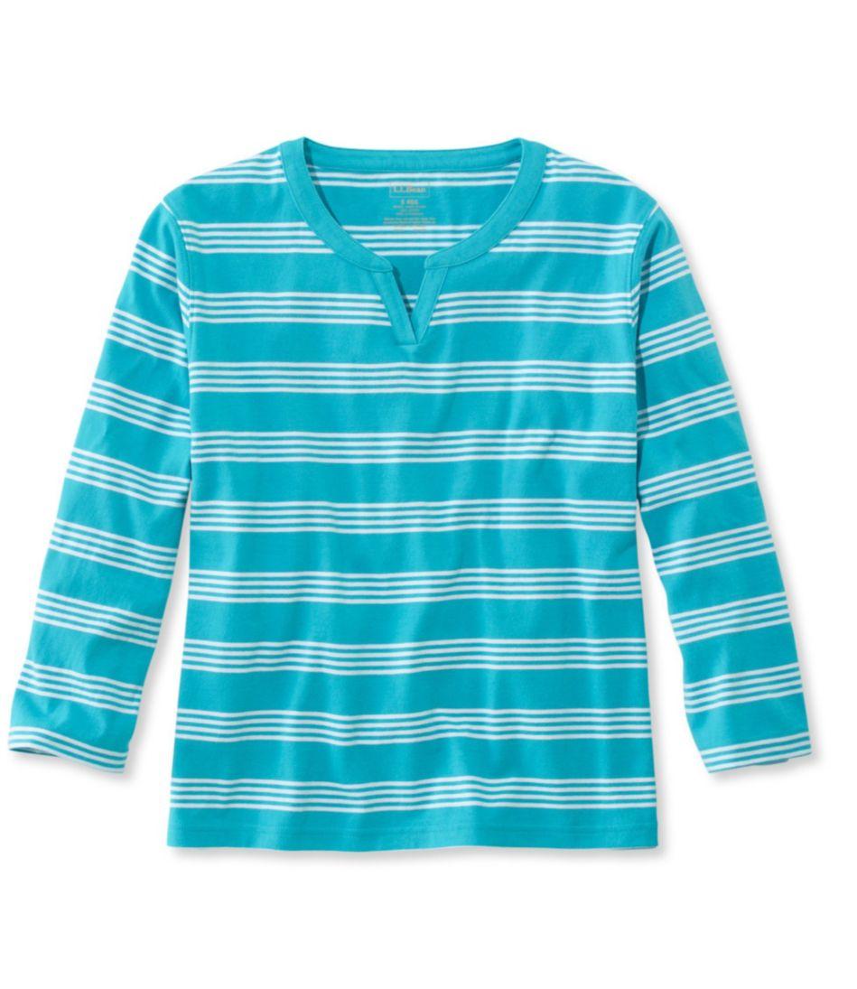 Saturday T-Shirt, Splitneck Three-Quarter-Sleeve Stripe