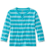 Saturday T-Shirt, Splitneck Three-Quarter-Sleeve Stripe