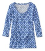 West End Fitted Tee, Three-Quarter-Sleeve Scoopneck Ikat Print