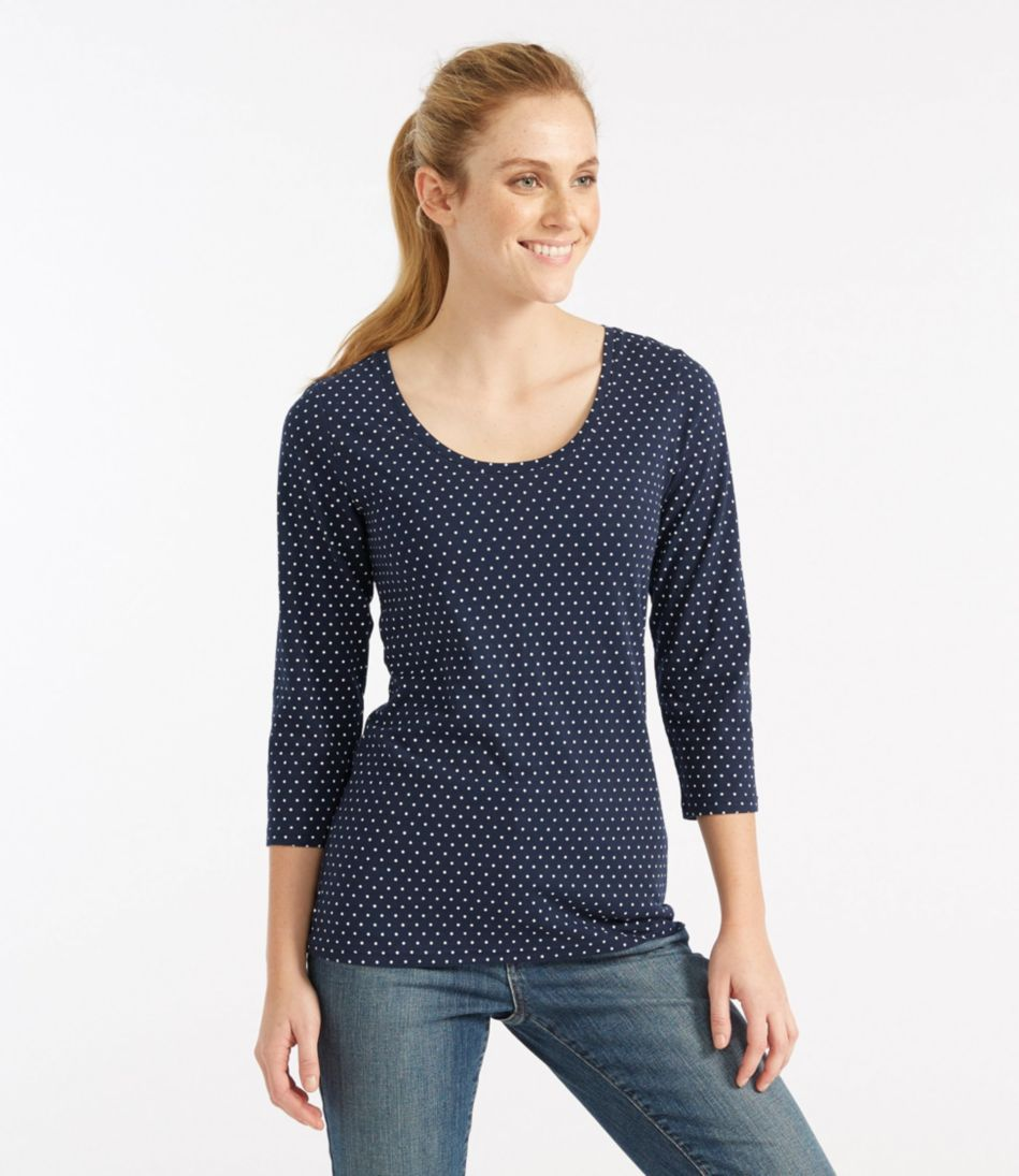 Women's West End Fitted Tee, Three-Quarter-Sleeve Scoopneck Dot