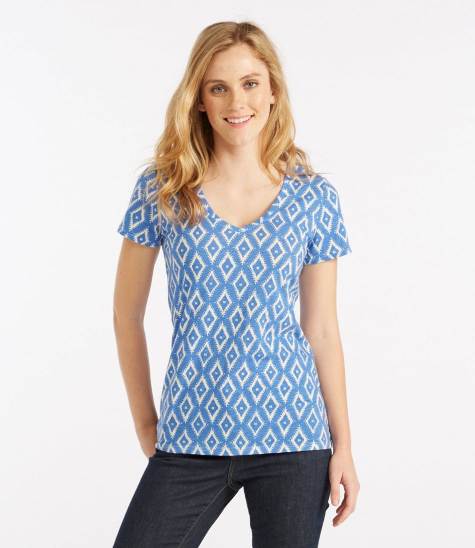 West End Fitted Tee, Short-Sleeve V-Neck Ikat Print