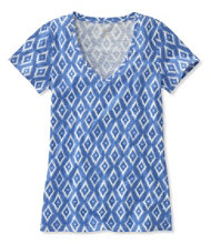 West End Fitted Tee, Short Sleeve V-Neck Ikat Print