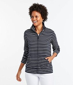 Women's Ultrasoft Sweats, Full-Zip Mock-Neck Jacket Stripe