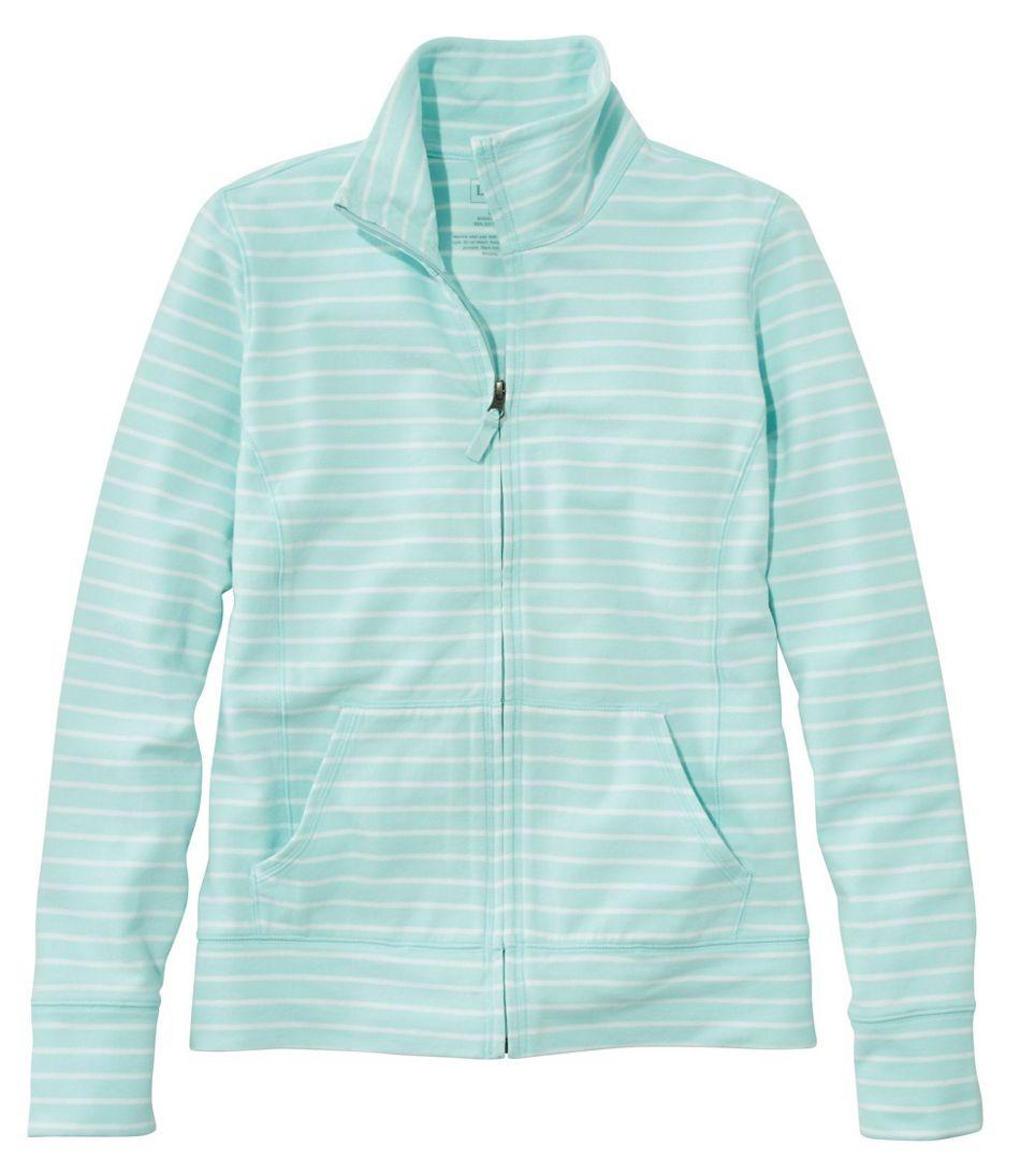 Women's Ultrasoft Sweats, Full-Zip Mock-Neck Jacket Stripe