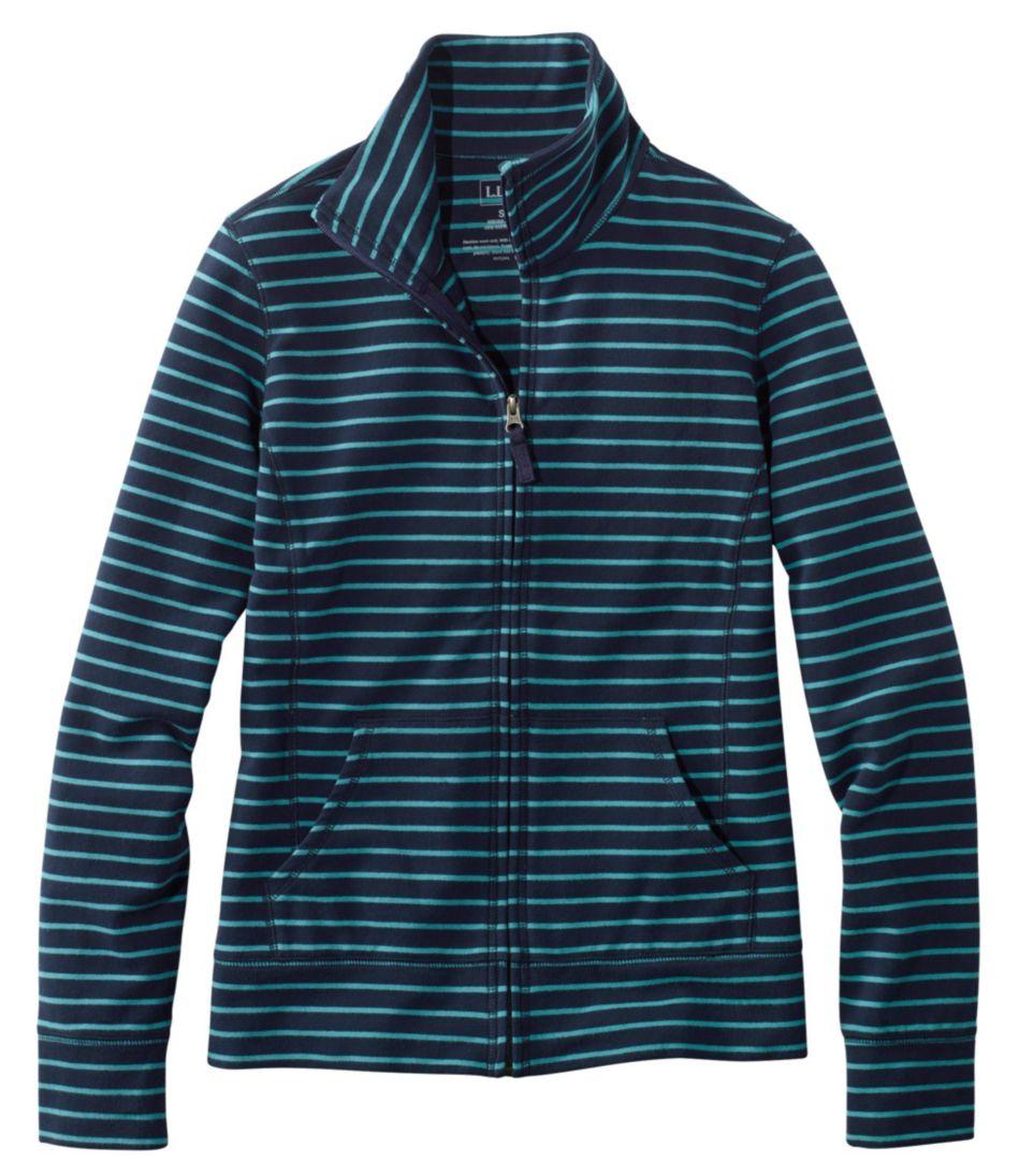 Ultrasoft Sweats, Full-Zip Mock-Neck Jacket Stripe