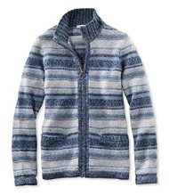 Marled Cotton Sweater, Zip-Front Cardigan Stripe