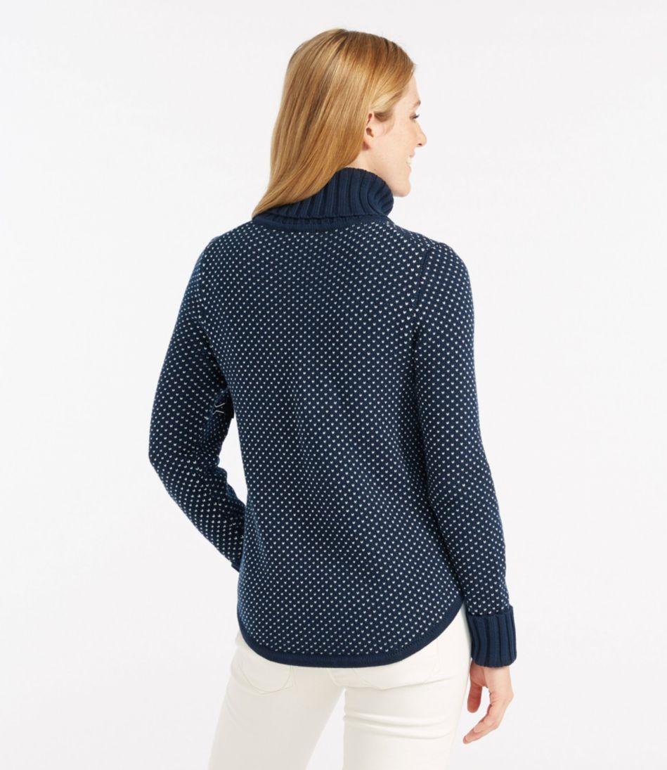 Midweight Cotton Sweater, Turtleneck Bird's-Eye