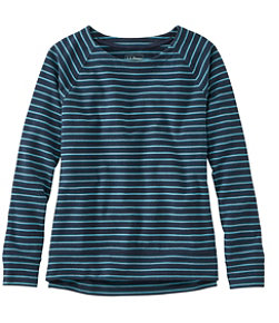 Women's Ultrasoft Sweats, Open Crewneck Stripe