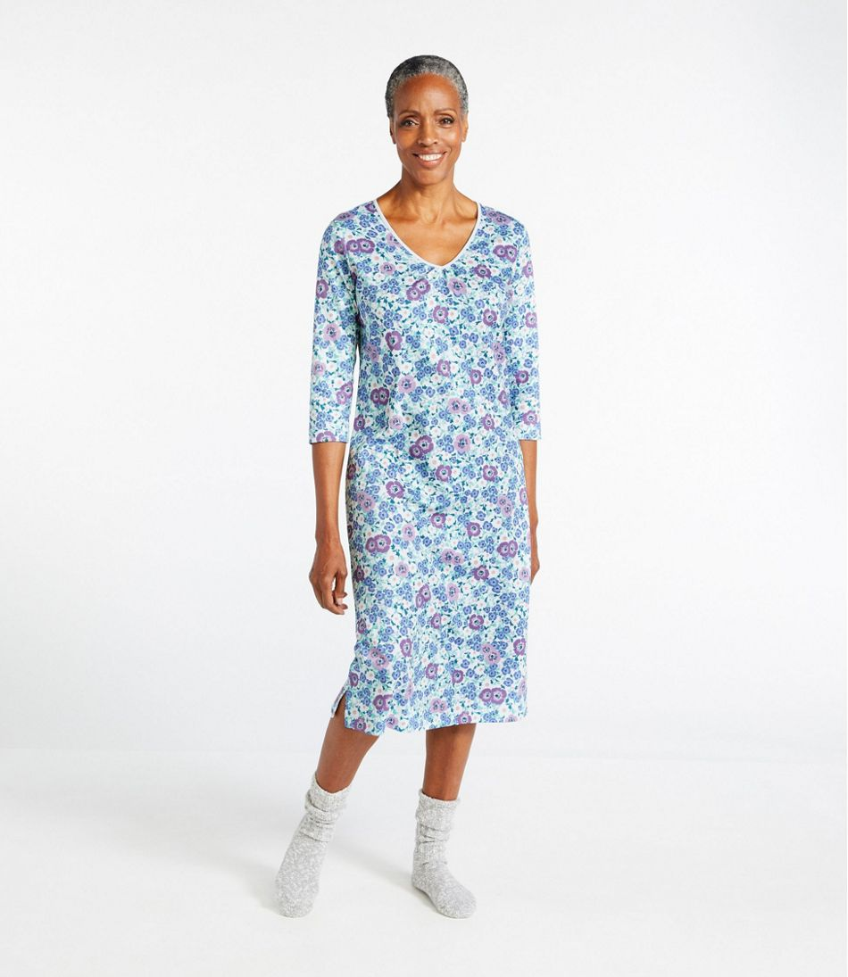Supima Nightgown, V-Neck Three-Quarter-Sleeve Print