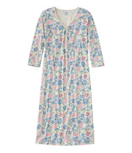 Supima Nightgown, V-Neck Three-Quarter-Sleeve Floral