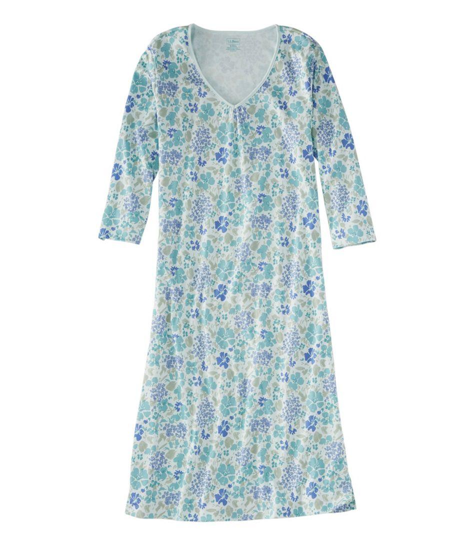 Supima Nightgown, V-Neck Three-Quarter-Sleeve Print