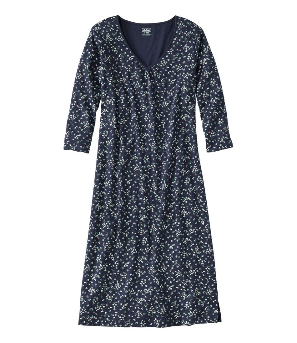Women's Supima Nightgown, V-Neck Three-Quarter-Sleeve Print