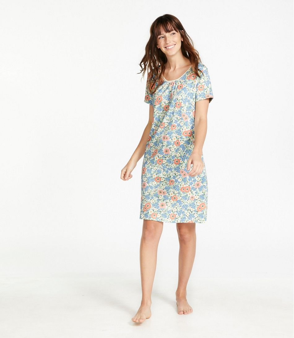 Supima Nightgown, Short-Sleeve Print