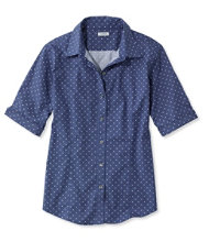 Wrinkle-Free Pinpoint Oxford Shirt, Elbow-Sleeve Dot
