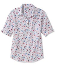 Wrinkle-Free Pinpoint Oxford Shirt, Elbow-Sleeve Floral