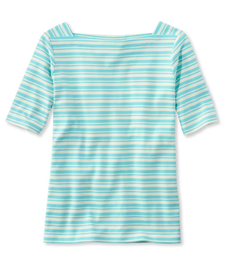 L.L.Bean Pullover, Elbow-Sleeve Square Boatneck Stripe
