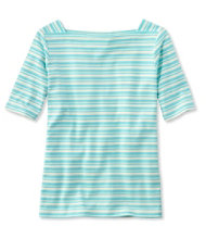 Women's L.L.Bean Pullover, Elbow-Sleeve Square Boatneck Stripe