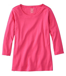Women's Pima Cotton Shaped Tee, Three-Quarter-Sleeve Jewelneck