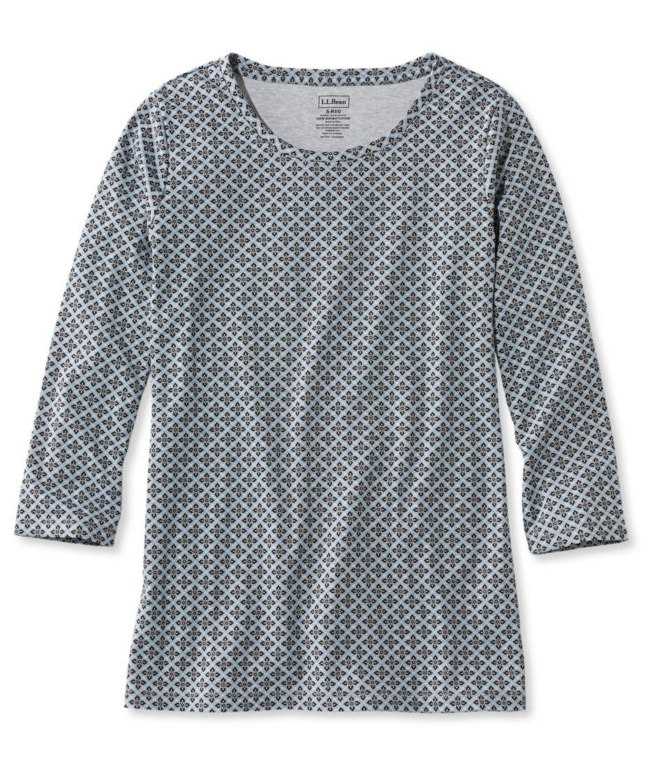 Pima Cotton Shaped Tee, Three-Quarter-Sleeve Jewelneck Foulard Print