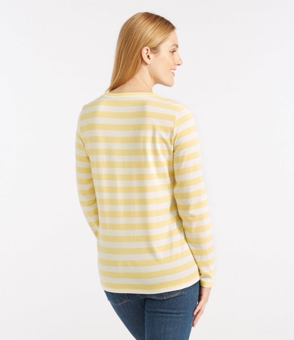 Carefree Unshrinkable Shirt, Slightly Fitted Long-Sleeve Scoopneck Stripe