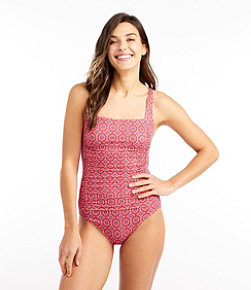 Women's L.L.Bean Mix-and-Match Swim Collection, Squareneck Tanksuit Print