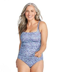 Women's L.L.Bean Mix-and-Match Swim Collection, Squareneck Tanksuit Print