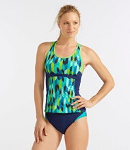 L.L.Bean Active Swim Collection, Racerback Tankini Print