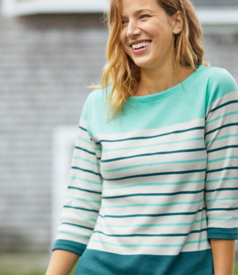 Women's French Sailor's Shirt, Three-Quarter-Sleeve Boatneck Multi-Stripe