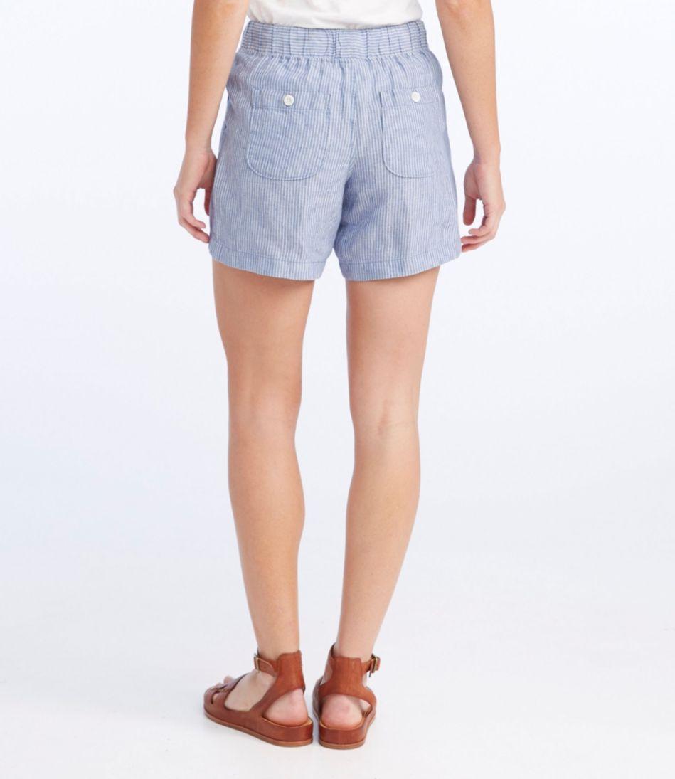Premium Washable Linen Shorts, Stripe
