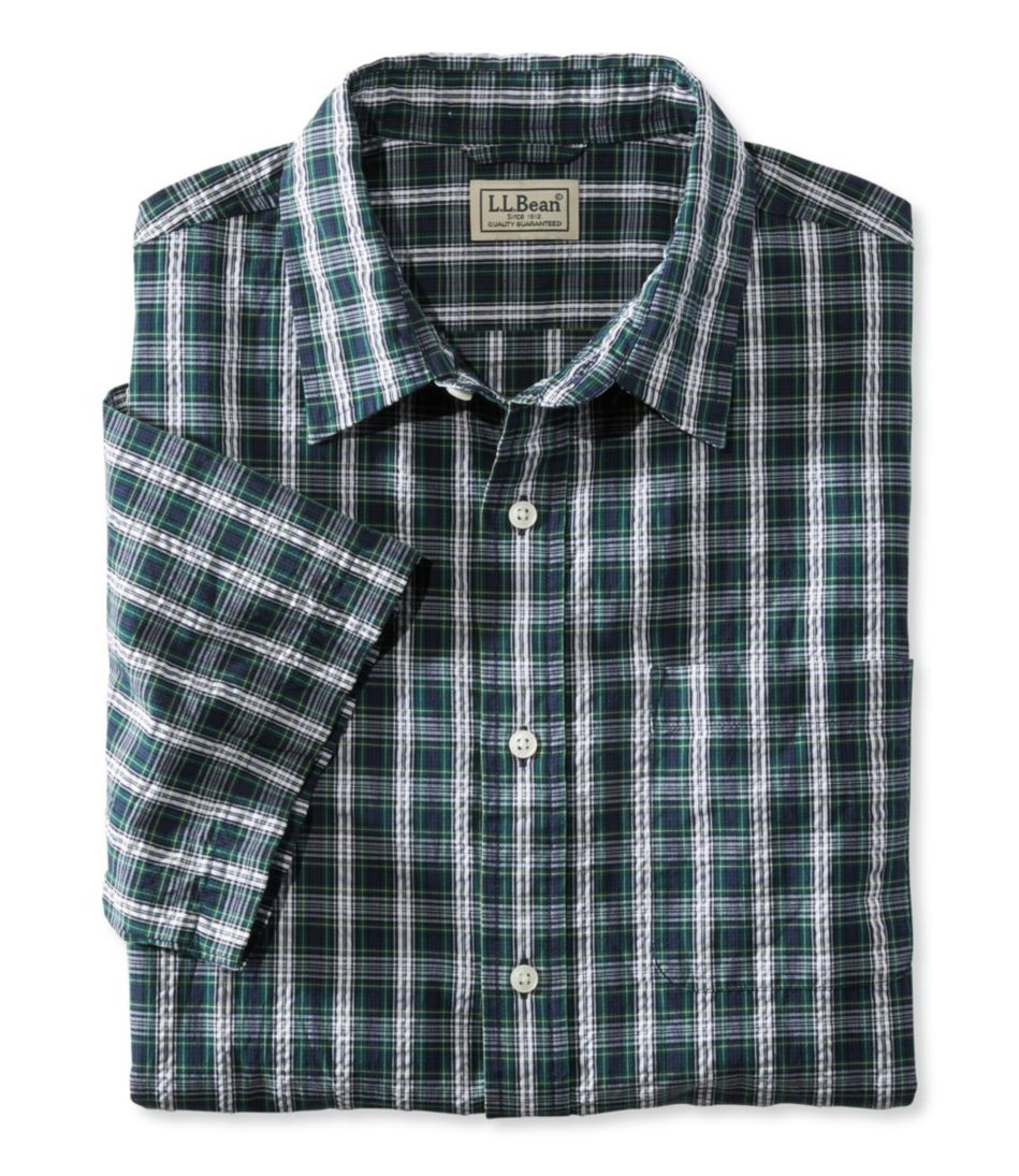 Tartan Seersucker Shirt, Short-Sleeve Slightly Fitted