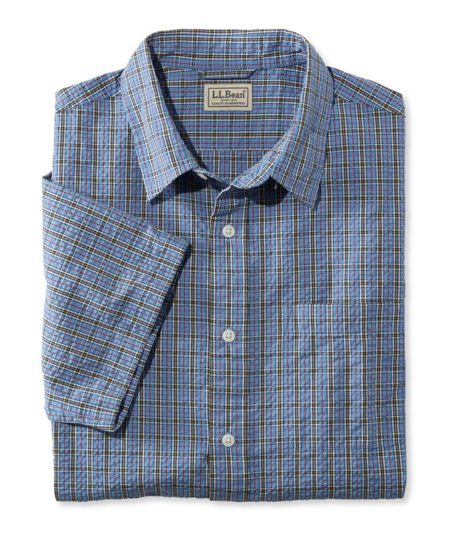 Tartan Seersucker Shirt, Short-Sleeve Slightly Fitted