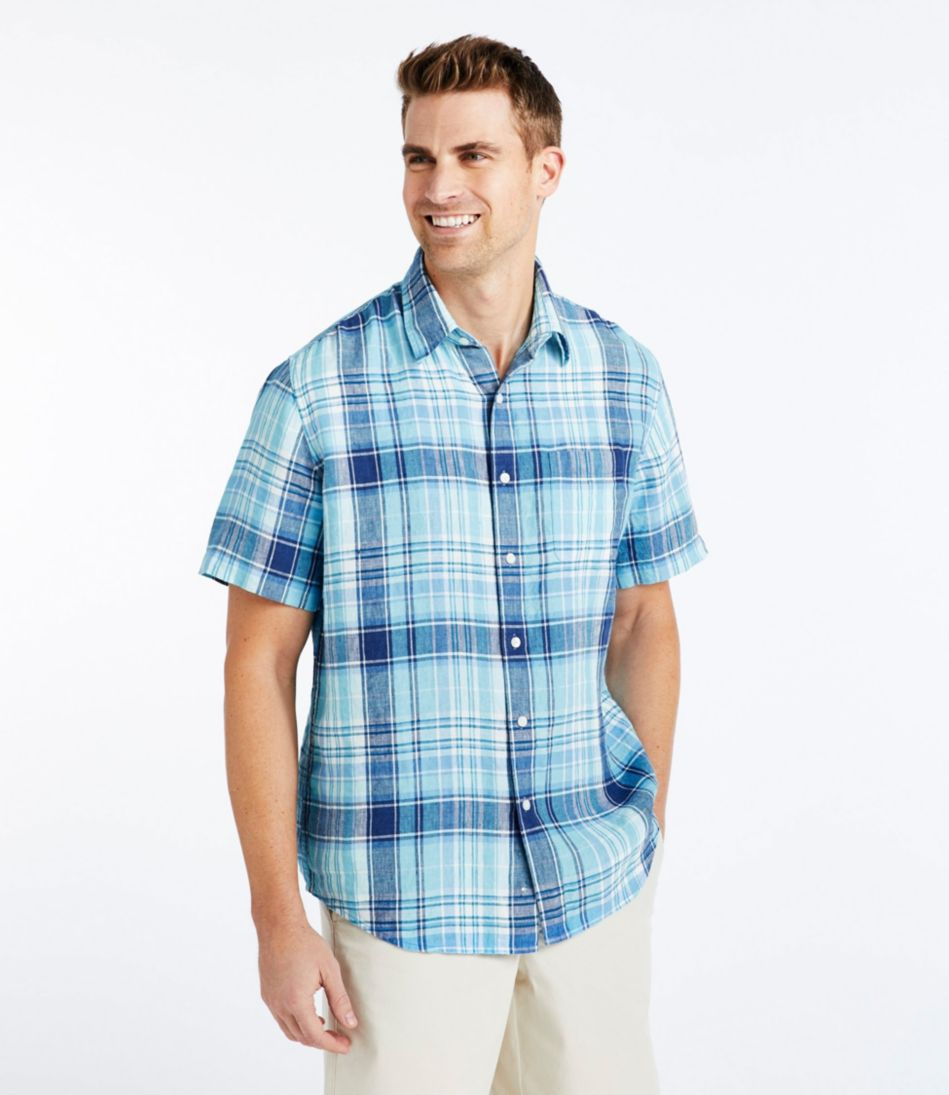 L.L.Bean Linen Shirt, Slightly Fitted Short-Sleeve Plaid