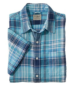 Men's L.L.Bean Linen Shirt, Slightly Fitted Short-Sleeve Plaid