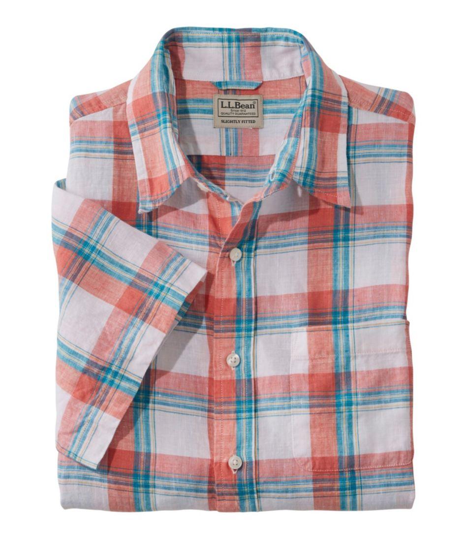 L.L.Bean Linen Shirt, Slightly Fitted Short-Sleeve Plaid