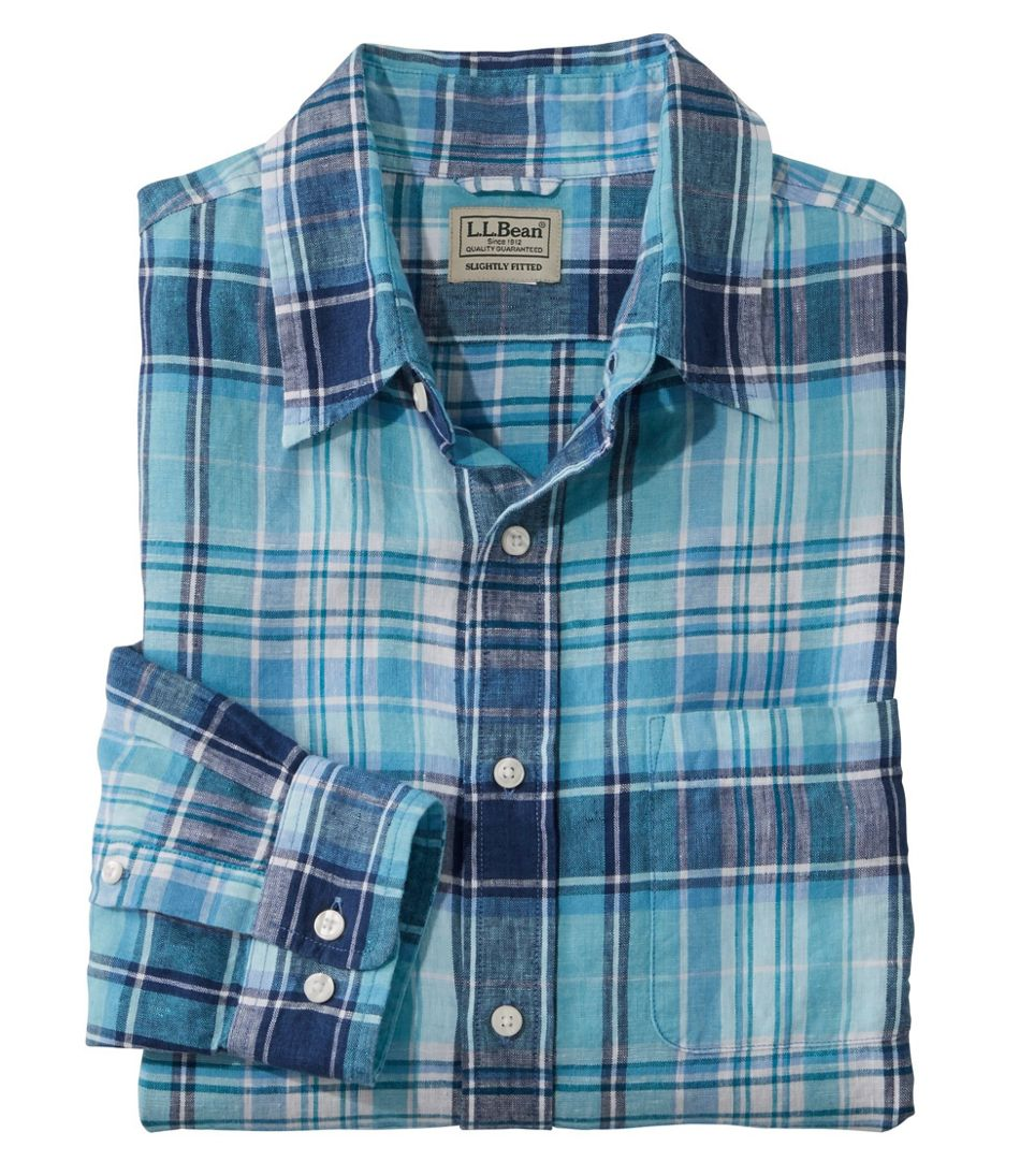 L.L.Bean Linen Shirt, Slightly Fitted Long-Sleeve Plaid