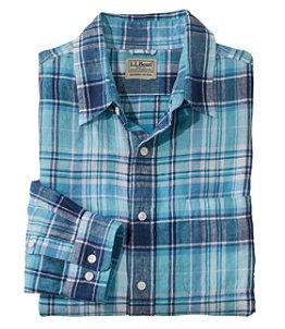 Men's L.L.Bean Linen Shirt, Slightly Fitted Long-Sleeve Plaid