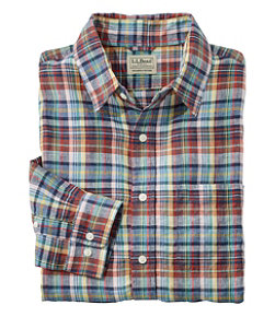 Men's L.L.Bean Linen Shirt, Slightly Fitted Long-Sleeve Plaid