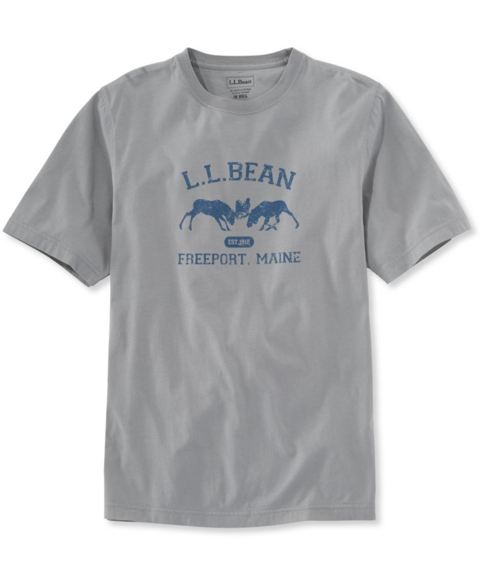 Lakewashed Garment-Dyed Graphic Tee, Slightly Fitted Crewneck Short-Sleeve Two Moose