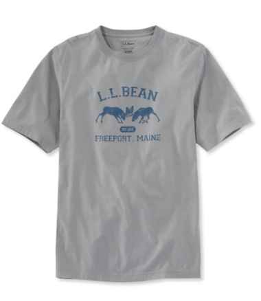Lakewashed® Garment-Dyed Graphic Tee, Slightly Fitted Crewneck Short-Sleeve Two Moose