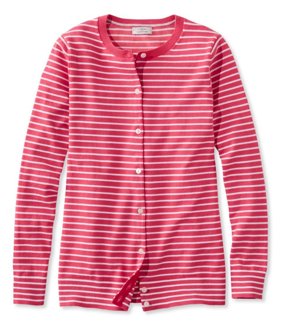 Supima-Blend Essential Cardigan, Stripe
