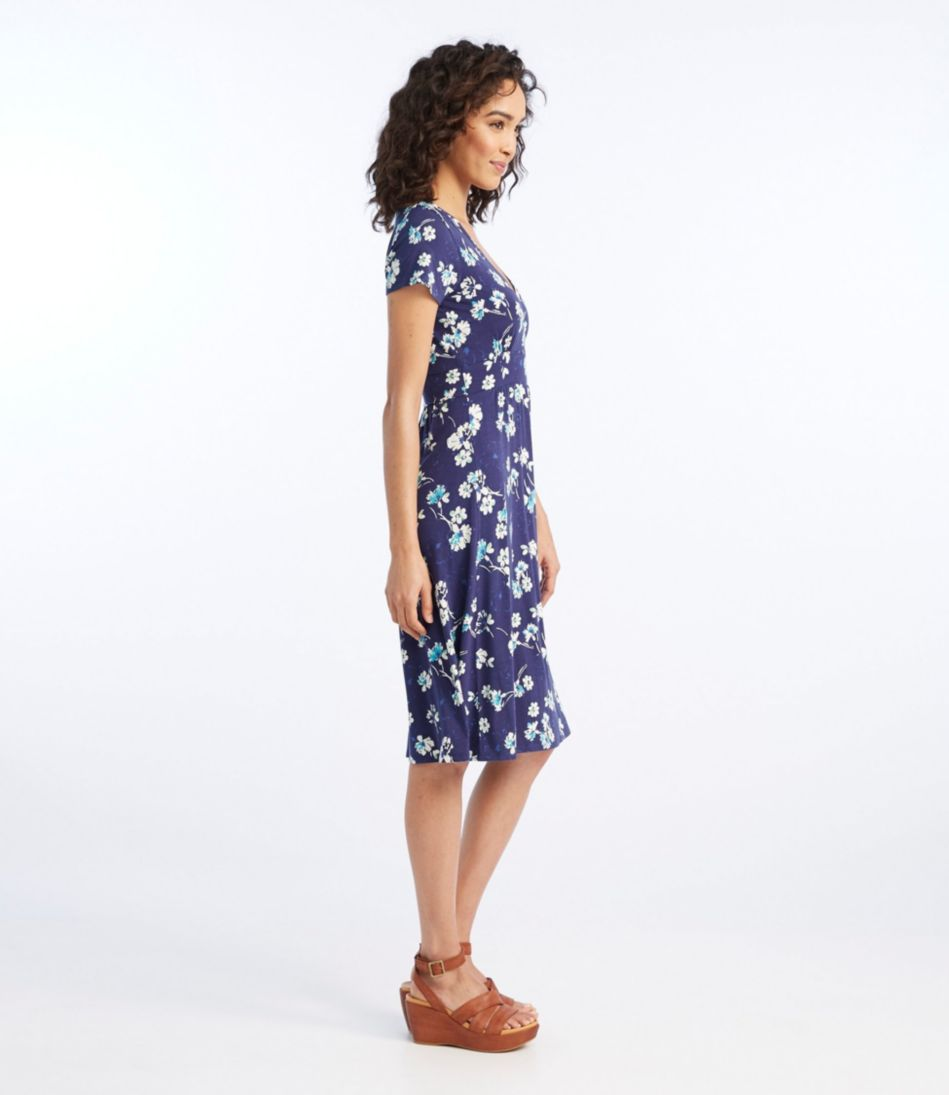 Women's Summer Knit Dress, Short-Sleeve Multifloral