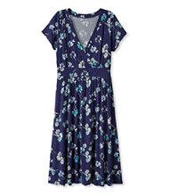 Women's Summer Knit Dress, Short-Sleeve Multifloral