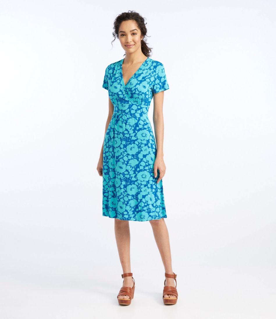 Women's Summer Knit Dress, Short-Sleeve Bifloral