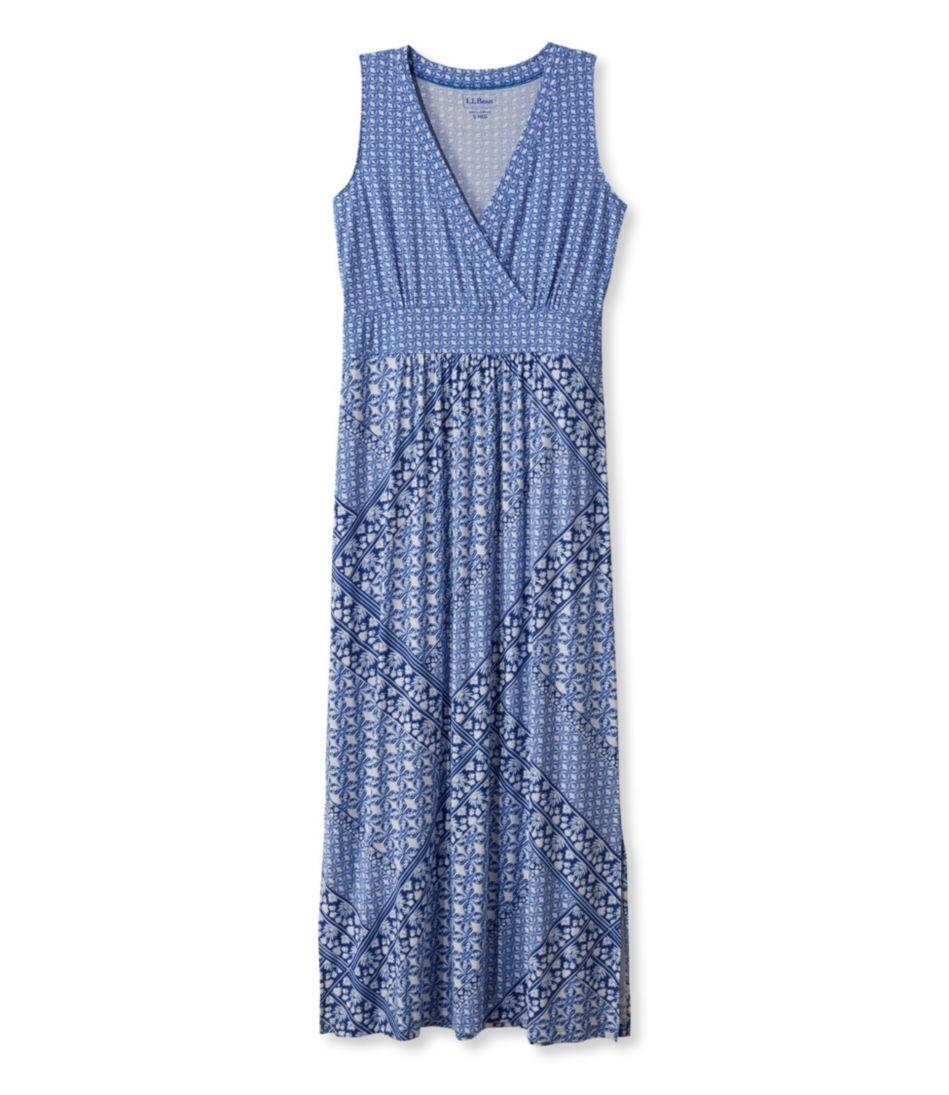 Summer Knit Maxi Dress, Sleeveless Tile Print