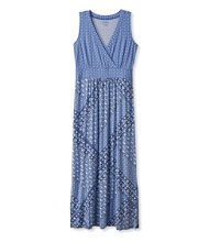 Summer Knit Maxi Dress, Sleeveless Tile Print