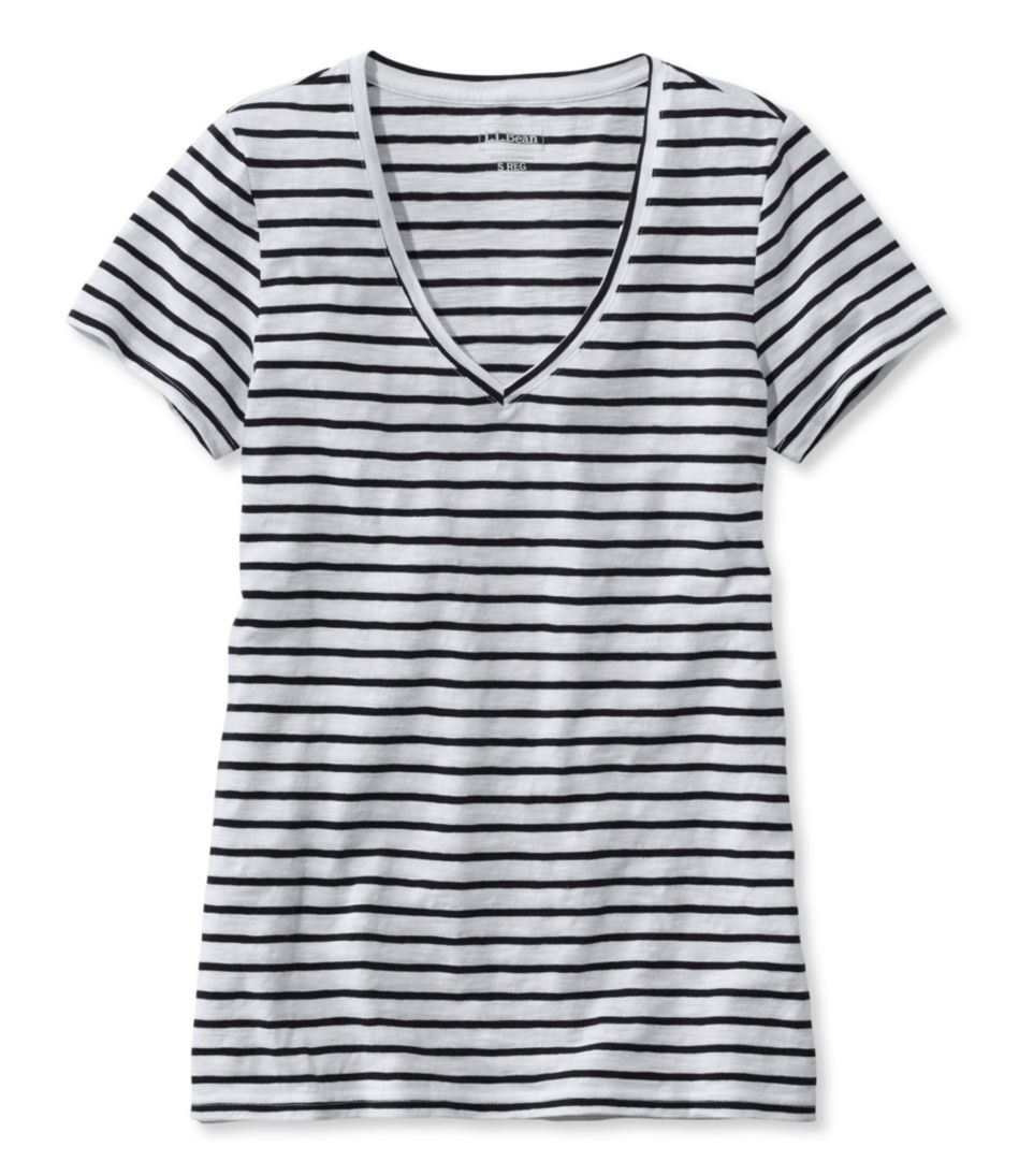 Women's West End Fitted Tee, Short-Sleeve V-Neck Stripe