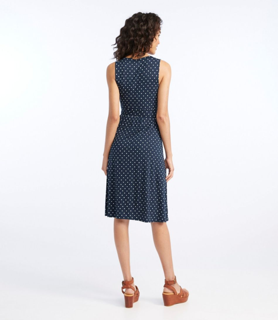 Women's Summer Knit Dress, Sleeveless Dot