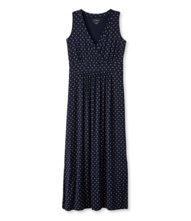 Women's Summer Knit Maxi Dress, Sleeveless Dot