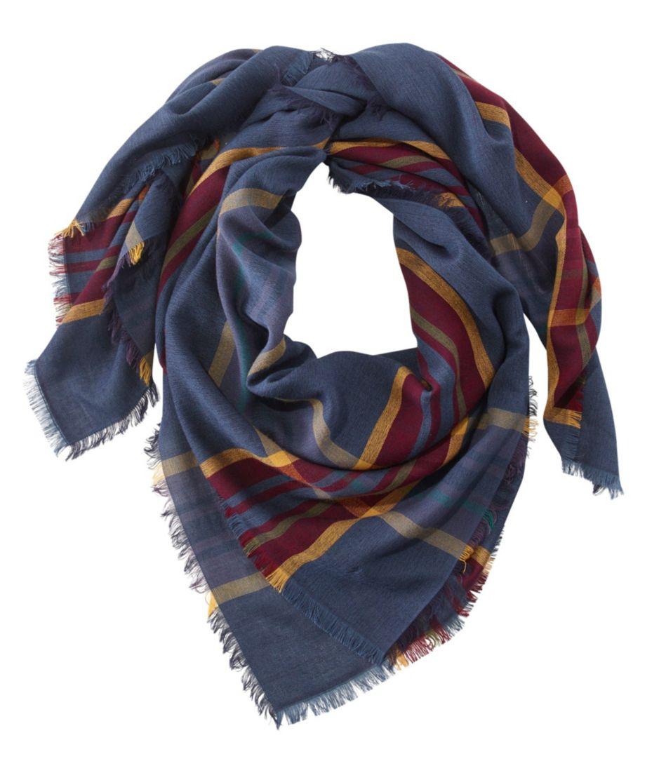 Lightweight Wool-Blend Scarf, Plaid